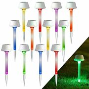 12 Pack Solar Pathway Lights Rgb Color Changing Outdoor Garden Stake Light