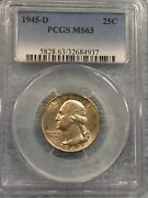 1945-d Silver Washington Quarter – Pcgs – Ms63 Natural Patina For 75 Year Silver