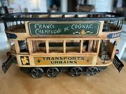 Double Decker French Trolley Car. Vintage Collectible. Wood And Cast Iron.
