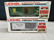 Lionel 6-9465 Atandsf Green Billboard Boxcar And 6-9462 Southern Pacific Sp Boxcar