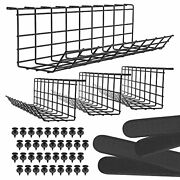 Under Desk Cable Management Tray - Under Desk Cable Organizer For Wire Set Of 4