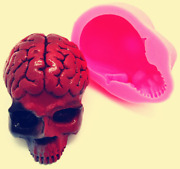 3d Skull Brain Reusable Silicone Mold Resin Craft Fondant Chocolate Soap Candle