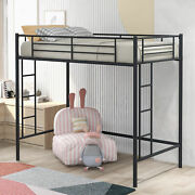 Twin Loft Bed With Sturdy Steel Frame Two-side Ladders Fixed Wall Metal Frame