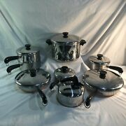 Vintage Revere Ware Copper Bottom Stainless Steel 14 Pc Cookware Set Usa Lot