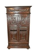 Two Door Antique French Breton Armoire/cabinet Oak 1900and039s
