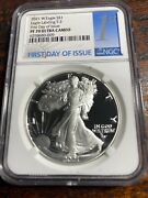 2021 W 1 Proof Silver Eagle Type 2 Eagle Ngc Pf70 First Day Of Issue Presale