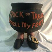 Vintage Halloween Paper Mache Candy Container Dept 56 Smell My Feet Cauldron