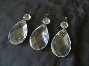 Three 3 Vintage Crystal Prism Drops For Chandeliers Sizes 2 X 1-1/4andrdquo And 5/8