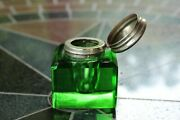 Vintage Antique Emerald/green Glass Inkwell - Good Condition