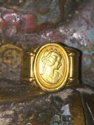 Antique Style Italy Orlando Solid 18ct Yellow Gold Cameo Roman Design Ring