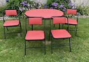 Mcm Shwayder Samsonite Red Speckled Vinyl Oval Folding Table And 4 Chairs Euc