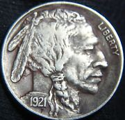 Bold Date And Horn Ef+/xf+ 1921-p Buffalo Nickel 5andcent Reverse Ding/hit He110eq