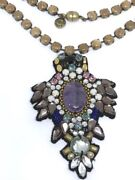 Rare 2011 Le Ranjana Khan Antique Brass Amethyst And Crystal Exquisite Necklace