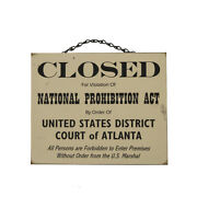 Vintage Wood Closed Prohibition Poster Hang Sign Wall Plaque Man Cave Bar Decor