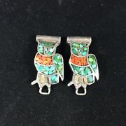 Vintage Old Pawn Sterling Silver Watch Fobs Tips Inlay Turquoise Owls Southwest