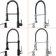 Spring Kitchen Sink Faucet Pull Down Sprayer Single Handle Mixer Tap Deck Mount