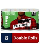 Brawny Tear-a-square Paper Towels, White, 16 , 8 , 6 Double Rolls Fast Shipping