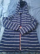 Joules Blue And White Stripe Nautical Coat Size 12