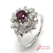Anneau - 14k Wg - Diamantbes. Ca.1 Carats Tw Steel / Si And 1 Rubis Env. 060 -