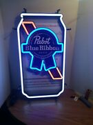 Pabst Beer Can Led Light Up Back Bar Sign Pbr Game Room Man Cave New