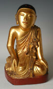 19th Century, Mandalay, Antique Burmese Wooden Seated Disciple With Gilded Gold