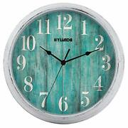 Teal Wall Clock, 12 Inch Retro Vintage Silent Wall Clocks Battery Operated