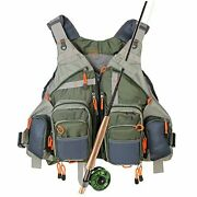 Fly Fishing Vest Pack Adjustable For Men And Women Army Green