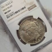 1921 Peace Silver 1 Dollar Ngc Ms64+ Plus Pq Graded High Relief Free Shipping