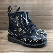 New Dr Martens 1460 Deluxe Black Gold Spiked Leather Combat Boots Women Sz 8