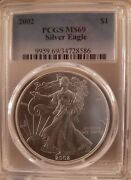 2002 Ms69 Pcgs American Silver Eagle Traditional Blue Label