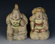 Early 20th Century Showa A Pair Of Antique Japanese Pottery Figures