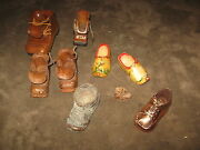 7 Fabulous Vintage Wooden Shoes, 1 Metal Shoe , 4 Leather Shoe Purses And Moccasin