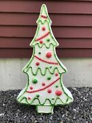 Blow Mold White Christmas Gingerbread Tree Red Green Icing Don Featherstone