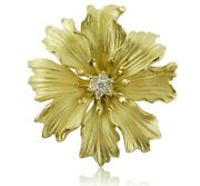 Vintage 18k Yellow Gold And Diamond Large Flower Brooch Or Pendant Enhancer C1990s
