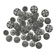 Beautiful 50x Mixed Antique Silver Vintage Buttons For Diy Sewing Crochet