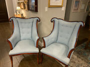 20th Century Vintage Hollywood Regency French Style Mahogany Armchairs