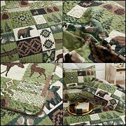 Rustic Bedding Quilt Set King Cabin Quilt Bedspread Moose Bear Quilt Country