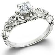 1/2ct Vintage Round Diamond Solitaire Engagement Ring 14k White Gold
