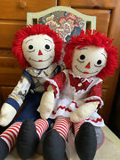Raggedy Ann And Andy Dolls. Hand Made Clothing. 27 In Tall Set