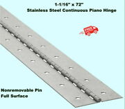 Stainless Steel Continuous Piano Hinge 1-1/16 X 6and039 Full Surface Non-remove Pin