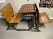 Antique Child's School Desk Wood And Cast Iron With Folding Seat