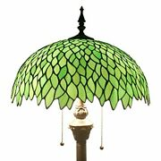 Green Wisteria Style Floor Standing Lamp 64 Inch Tall Stained Glass Shad