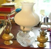 Lot Of 2 Miniature And 1 Small Oil Lamps