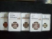 1955, 5 Piece Franklin Proof Set, Certified Proof 67 And 67 Cameo By Ngc Wow