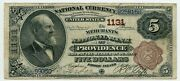 Fr. 467 1882 Bb 5 Ch 1131 National Bank Note Providence Rhode Island Fine