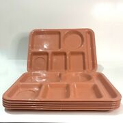 Set Of 7 Vintage Salmon/coral Silite School Cafeteria Lunch Divided Trays 614