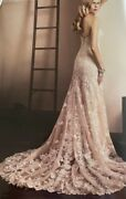Sz14 Wedding Evening Ivory/nude Embroidery Lace Tulle Semi-cathidral Train Dress