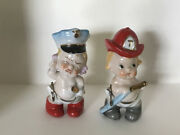 Vintage Babies In Police Hat And Fire Hat With Hose Porcelain Figurines-about 4
