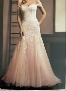 Sz 20 Ivory/nude Venice Lace Train 75 Wedding Formal Party Dress Price Reduced