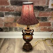 Small Electric Table Lamp Hand Painted Wooden With Shade